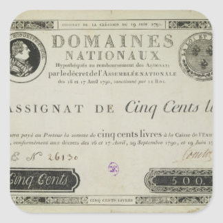 Five hundred livres banknote, 19th June 1791 Square Sticker