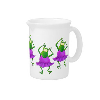 Five Jumping Ballerina Frogs in Tutus Pitcher
