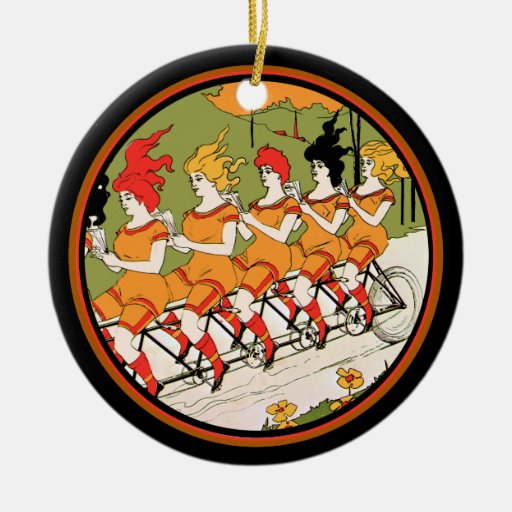 Five Ladies on  a Unicycle Ceramic Ornament