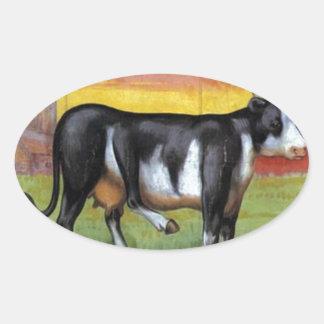 Five Legged Cow Oval Sticker