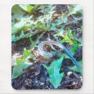 Five-Lined Skink on Dandelion Leaves Vertical Mouse Pad