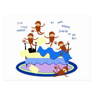 five little monkeys postcard