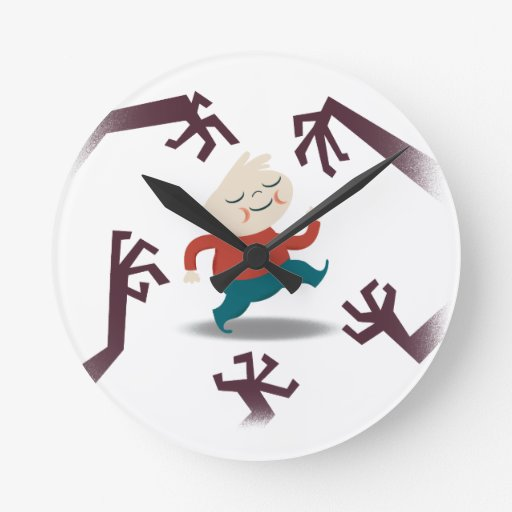Five Little Zombies And Fred Gear Round Wallclock