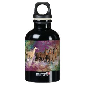 Five Llama Cloud Walk Fantasy White & Brown LLamas Aluminum Water Bottle