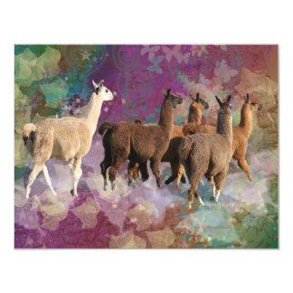 Five Llama Cloud Walk Fantasy White & Brown LLamas Personalized Announcement