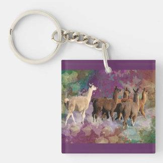 Five Llama Cloud Walk Fantasy White & Brown LLamas Keychain
