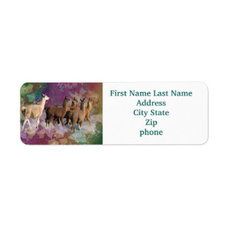 Five Llama Cloud Walk Fantasy White & Brown LLamas Custom Return Address Labels