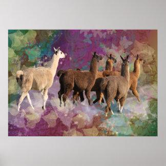 Five Llama Cloud Walk Fantasy White & Brown LLamas Print