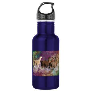 Five Llama Cloud Walk Fantasy White & Brown LLamas Stainless Steel Water Bottle