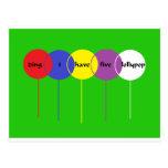 five lollypop postcards