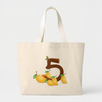 Five mangoes large tote bag