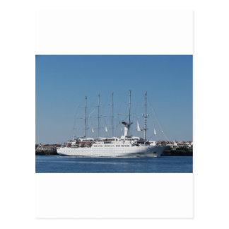 Five Masted Cruise Ship Postcard