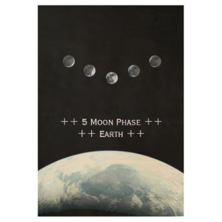 Five Moon Phase Earth in Space Wood Poster