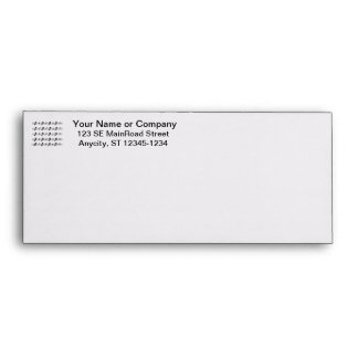 Five music staves with notes bw envelope