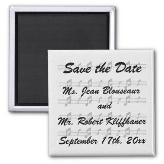 Five music staves with notes bw magnets