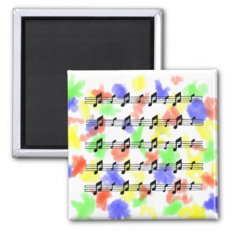 Five music staves with notes bw refrigerator magnet