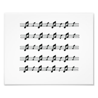 Five music staves with notes bw photo print