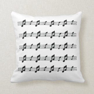 Five music staves with notes bw throw pillow