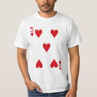 Five of Hearts Playing Card Tee Shirt