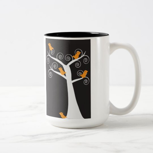 Five Orange Birds in a Tree Mug
