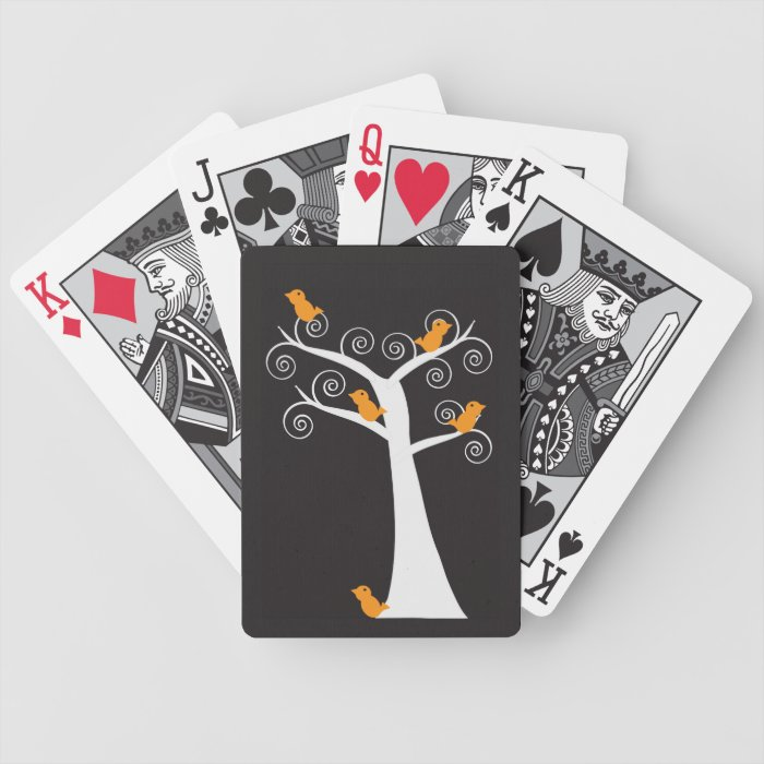 Five Orange Birds in a Tree Playing Cards