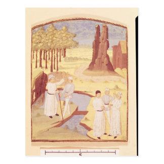 Five people discussing garden design postcard