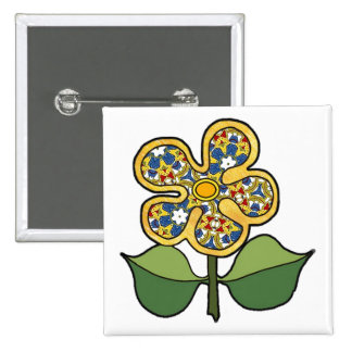Five petal flower with solid outlinepattern petals button