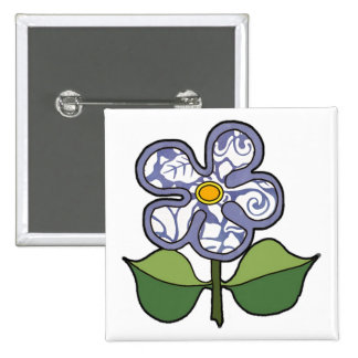 Five petal flower with solid outlinepattern petals pinback button