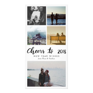 Five Photo | Cheers To 2018 Script New Year Card