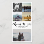 """Five Photo   Cheers To 2018 Script New Year Holiday Card<br><div class=""""desc"""">Five Photo   Cheers To 2018 Script New Year</div>"""