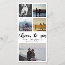 Five Photo | Cheers To 2018 Script New Year Holiday Card