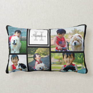 Five Photo Collage Custom Monogram Pillow