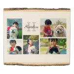 Five Photo Collage Custom Monogram Wood Photo Sign