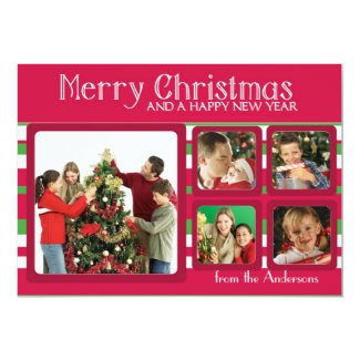 Five photo frame red green custom Christmas cards Personalized Announcement