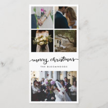 Five Photo | Married Couple Merry Christmas Script Holiday Card