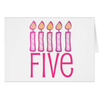 Five Pink Candle Birthday Design Card