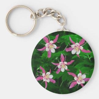 Five Pink Columbine flowers Key Chain