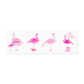 Five Pink Flamingo's - Wrapped Canvas