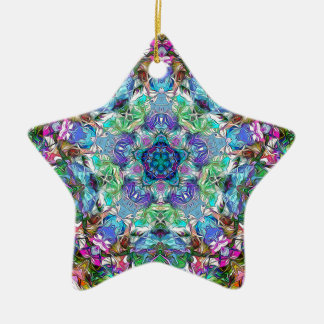 Five Points of Color Abstract Ceramic Ornament
