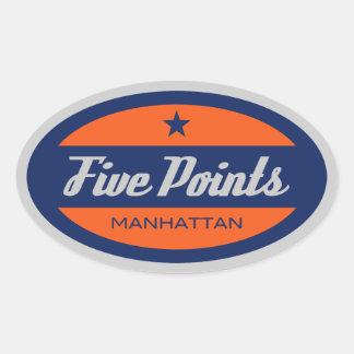 Five Points Oval Sticker