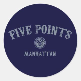 Five Points Classic Round Sticker