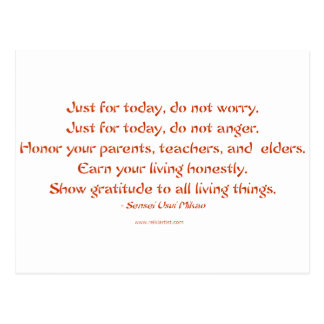 Five Precepts of Reiki: Words to Live By Post Card