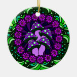 Five Purple Mushrooms Ornament
