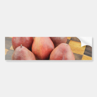Five Red Pears on a Wooden Chessboard Bumper Sticker