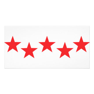five red stars in bow icon card