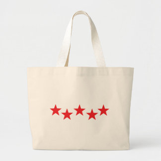 five red stars in bow icon large tote bag