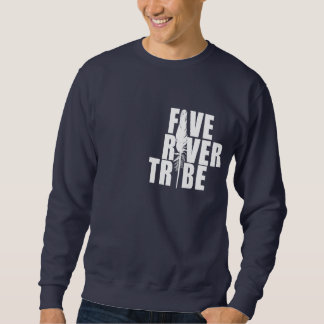 Five River Tribe White Print by Humble The Poet Pullover Sweatshirt