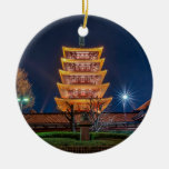 Five-Roof Pagoda at the Asakusa Temple, Tokyo Double-Sided Ceramic Round Christmas Ornament