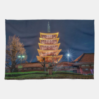 Five-Roof Pagoda at the Asakusa Temple, Tokyo Kitchen Towel