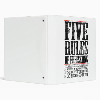 five rules of freeskiing 3 ring binder
